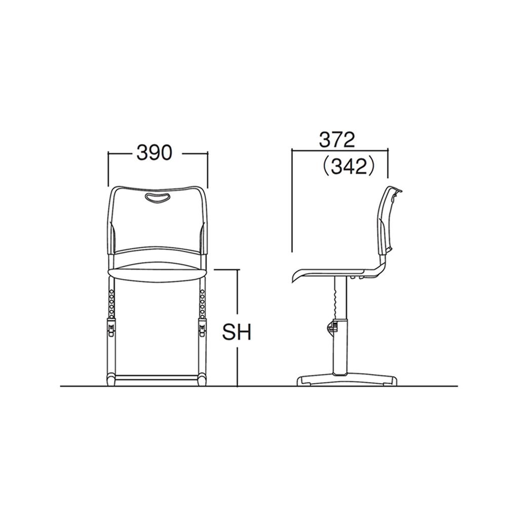 学校椅子 生徒用椅子 可動式 Mサイズ 背座樹脂 RX2型 | I-GRNCM