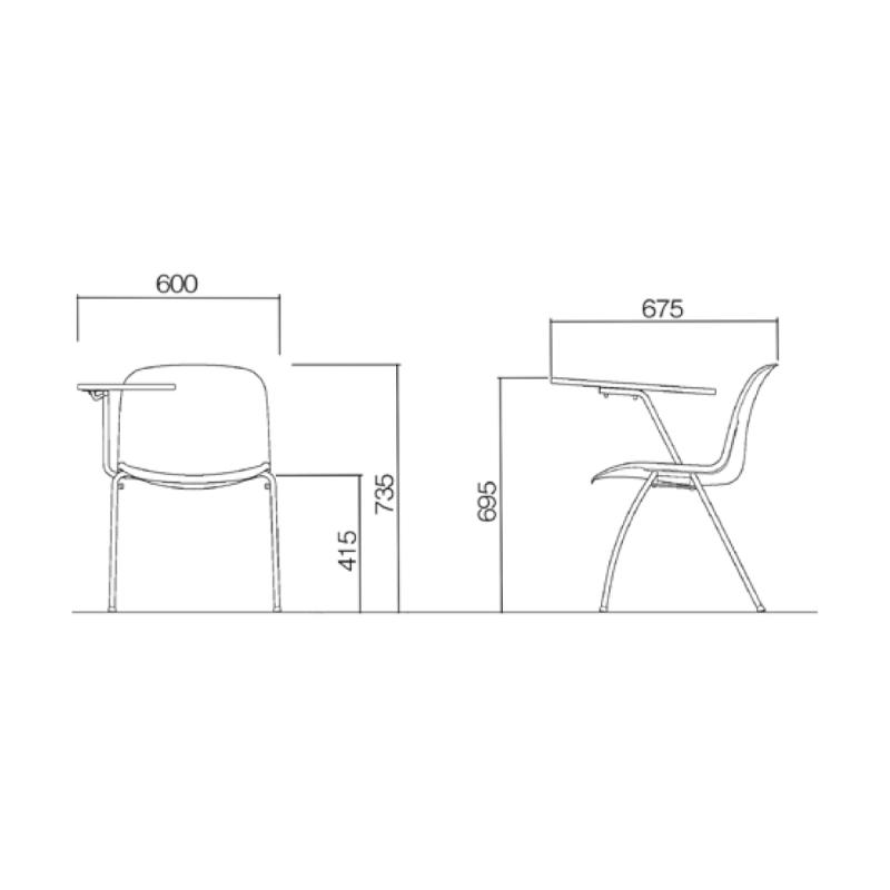 ミーティングチェア スタッキングチェア 学校教育用椅子 4本脚 スチール メッキ脚 大型メモ台付き シェルブルー レザー | I-DJM358-LYL