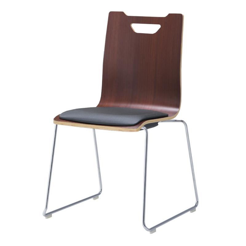 ミーティングチェア スタッキングチェア ラウンジ用椅子 ループ脚 スチール メッキ脚 座パッド付き ダーク | I-FKCRP-DD-M