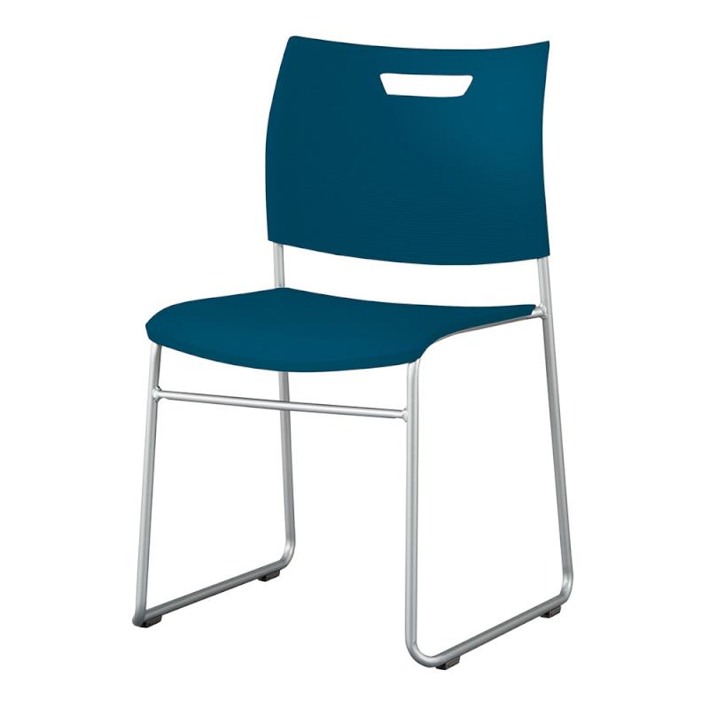 ミーティングチェア スタッキングチェア 学校教育用椅子 ループ脚 スチール シルバー 塗装脚 背座樹脂 | I-CDAS-55