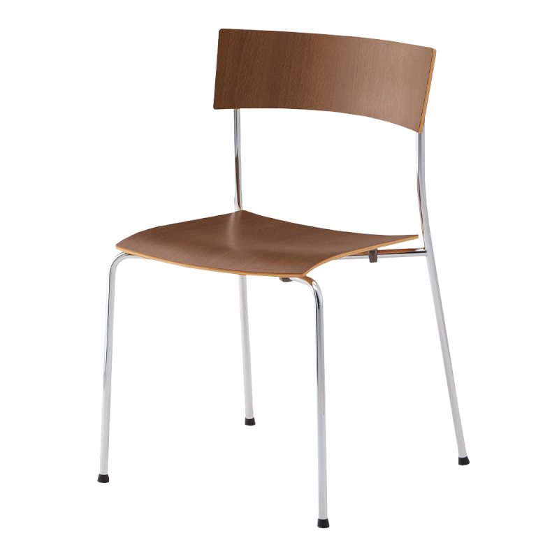 ミーティングチェア 木製チェア ラウンジ用椅子 4本脚 スチール メッキ脚 木   I-CU10M