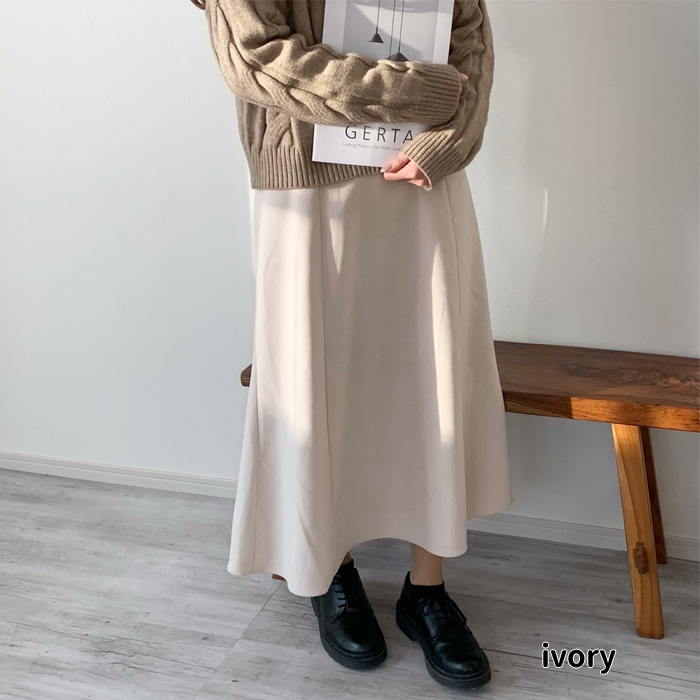 スエードライクフレアスカート