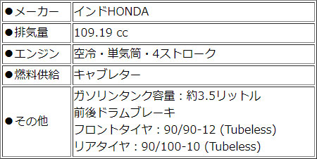 HONDA Navi110【レッド】 点検整備費込み 【輸入新車 カード支払いOK】 【インドホンダ ナビ110】【原付二種】