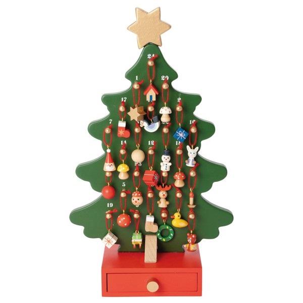 ミニ・オブジェ ウッド クリスマス アドベントツリー <24種類マスコット付き>