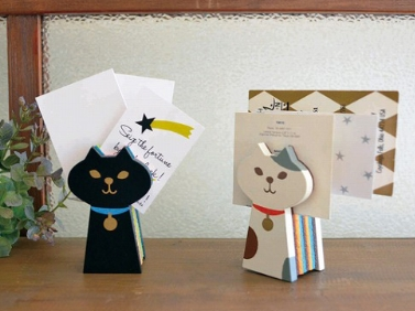 Decole oh,my cat!miranda フェルトカードスタンド(黒猫/三毛猫)