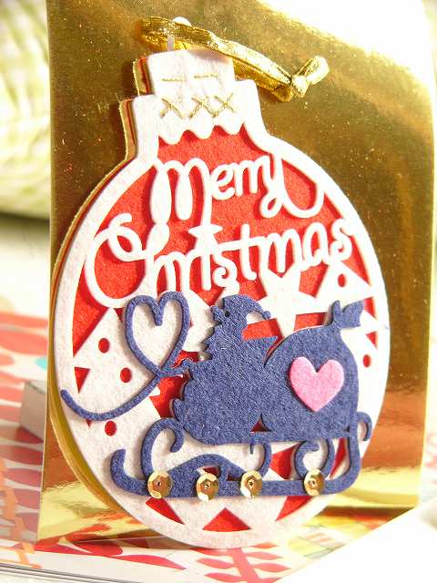 【クリスマスオーナメントカード】〜フェルトオーナメントカード サンタ〜
