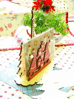 【Xmas WOOD スタンド付き♪】 木製エッフェルスタンド付き クリスマスカード <封筒&ツリーカード付き>