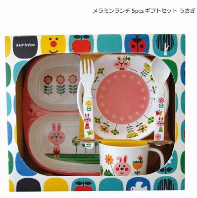 Decole aurinko 食器セット(メラミン ランチ 5pcs ギフトセット) <ねこ/うさぎ/くま>