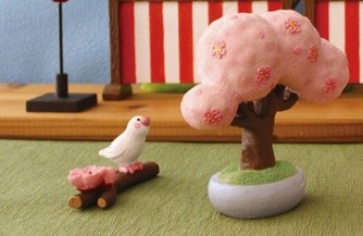 DECOLE(デコレ)コンコンブル(concombre)まったりマスコット  「桜の枝文鳥」
