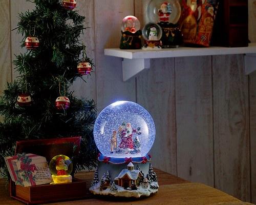 """★【LEDが灯る♪雪が舞う♪音も綺麗♪】 スノードーム LED ミュージックアラウンド 【ウォーキングサンタ 】 <クリスマスソングメドレー""""電子オルゴール8曲""""つき> ★★"""