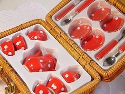 ミニ ピクニックバスケットセット (ドット ミニ ティーセット<ピンク/レッド>)