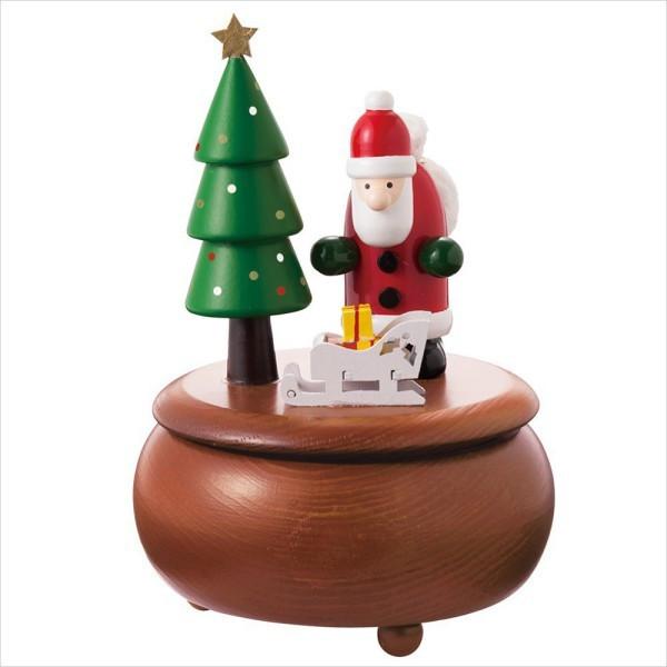 ★【「Silent Night」の音楽が流れ、台座がくるくると回る】 木製オルゴール <サンタ/スノーマン>★★