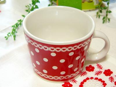 レッドドット スープカップ