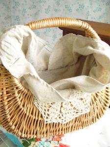 <fabric付きウィローバスケット>Willow Basket