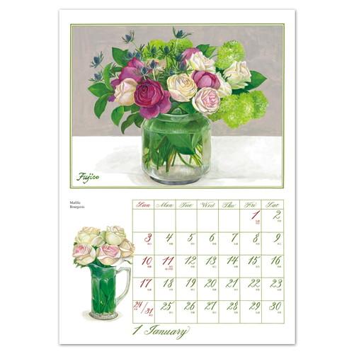 2021年 Rosesカレンダー(LLサイズ) 壁掛けタイプ /橋本不二子(LLサイズ)
