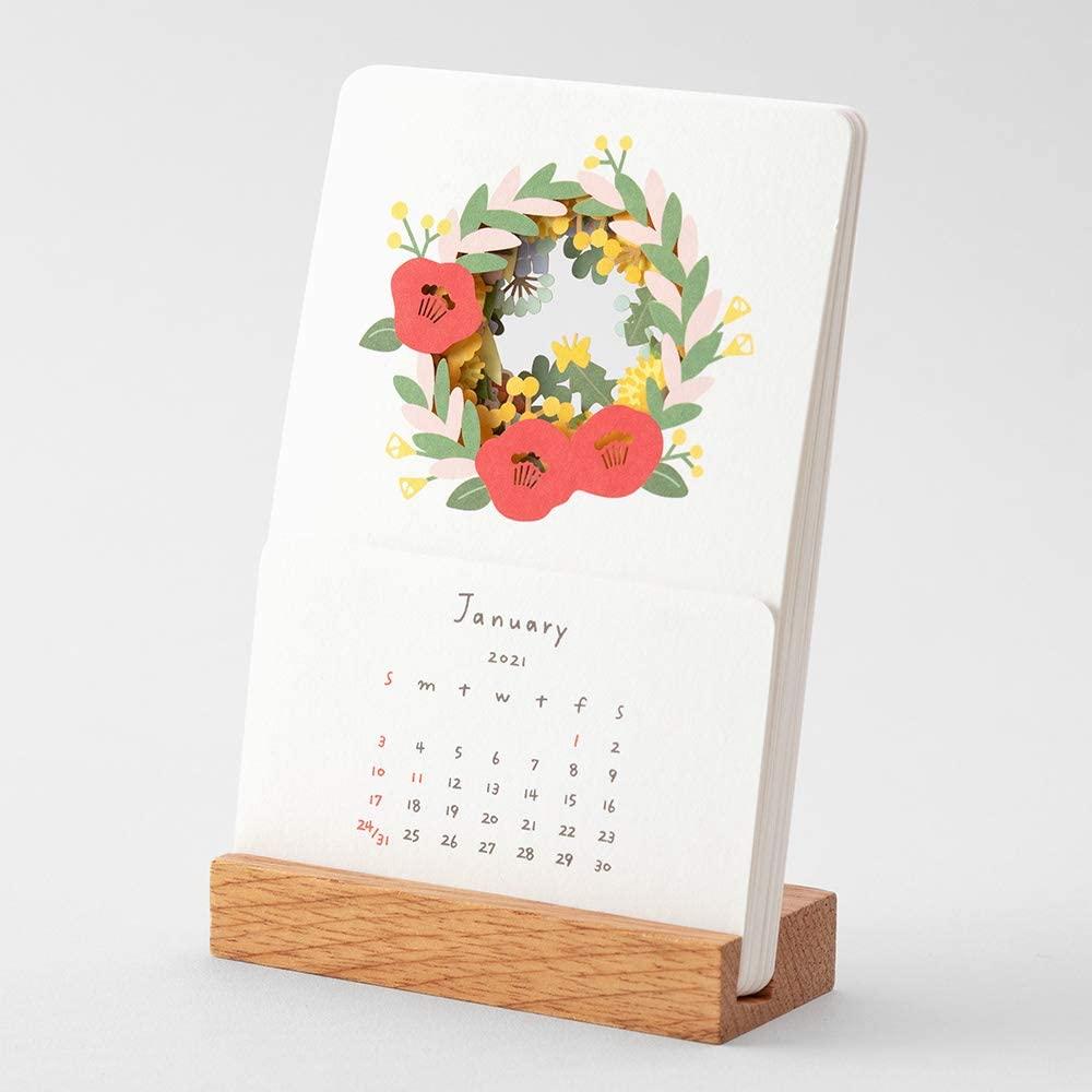 2021年 カレンダー 卓上 季節をのぞくカレンダー 卓上/花柄
