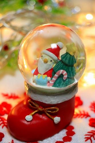 【Xmas(クリスマス)】スノードーム【クリスマスソックス/サンタ(S)】