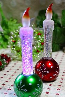 LED リキッドキャンドル<オーナメントボール>:2種(グリーン/レッド)