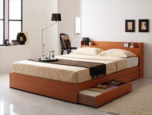 ダブル【プレミアムボンネルコイルマットレス付き】コンセント付き収納ベッド【Ever】エヴァー