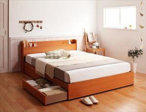 ダブル【国産カバーポケットコイルマットレス付き】コンセント付き収納ベッド【Ever】エヴァー