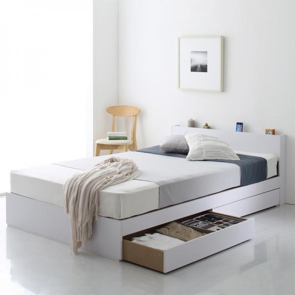 ダブル【フレームのみ】棚・コンセント付き収納ベッド【Ever2nd】エヴァーセカンド