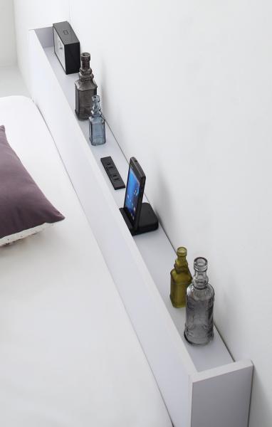 シングル【スタンダードボンネルコイルマットレス付き】棚・コンセント付き収納ベッド【Ever2nd】エヴァーセカンド