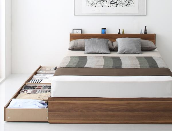 ダブル【スタンダードボンネルコイルマットレス付き】棚・コンセント付き収納ベッド【Ever2nd】エヴァーセカンド