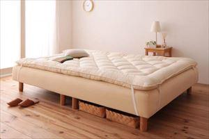セミダブル 脚22cm ボンネルコイルマットレス 敷パッドセット 分割式 脚付きマットレスベッド