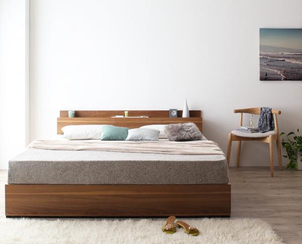 クイーン(Q×1)【スタンダードボンネルコイルマットレス付き】棚・コンセント付収納ベッド【Montray】モントレー