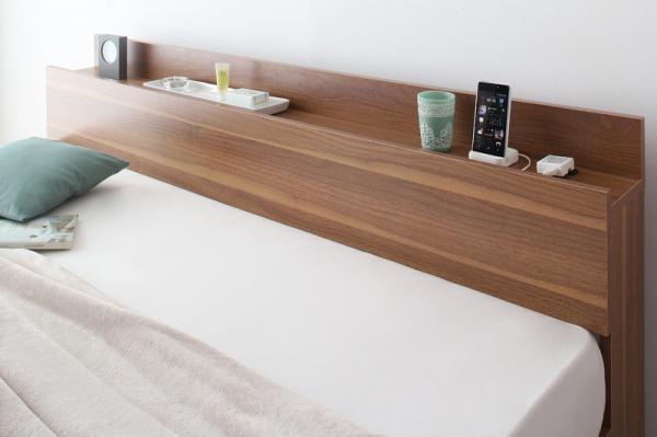 クイーン(Q×1)【スタンダードポケットコイルマットレス付き】棚・コンセント付収納ベッド【Montray】モントレー