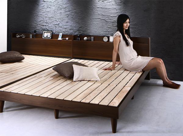 ダブル【スタンダードポケットコイルマットレス付き】棚・コンセント付きデザインすのこベッド【Morgent】モーゲント