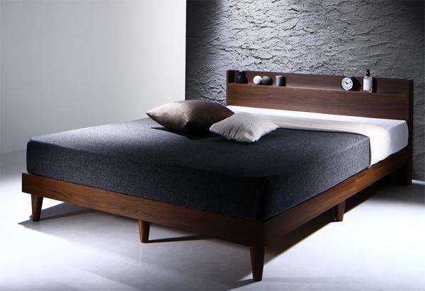ダブル【プレミアムボンネルコイルマットレス付き】棚・コンセント付きデザインすのこベッド【Morgent】モーゲント