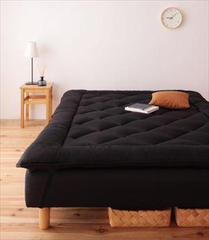 クイーン 脚15cm ボンネルコイルマットレス 敷パッドセット 分割式 脚付きマットレスベッド