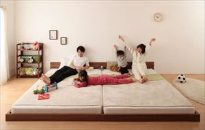 ワイドK200(SxS)【プレミアムボンネルコイルマットレス付き】家族ベッド連結ベッドシンプルフロアベッド【Grati】グラティー