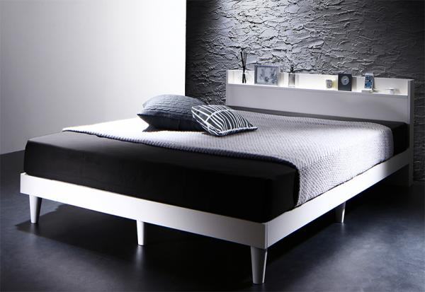 ダブル【プレミアムポケットコイルマットレス付き】棚・コンセント付きデザインすのこベッド【Morgent】モーゲント