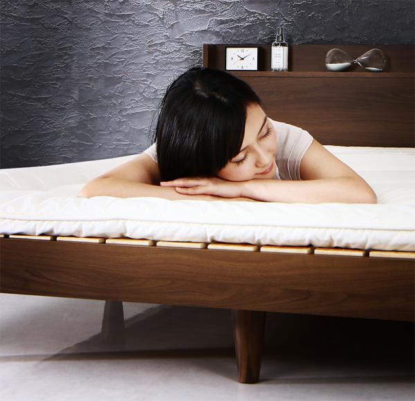 シングル【国産カバーポケットコイルマットレス付き】棚・コンセント付きデザインすのこベッド【Morgent】モーゲント