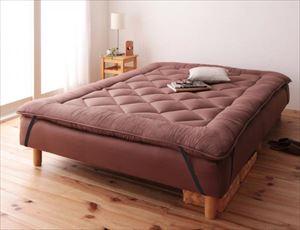 ダブル 脚15cm ボンネルコイルマットレス 敷パッドセット 分割式 脚付きマットレスベッド