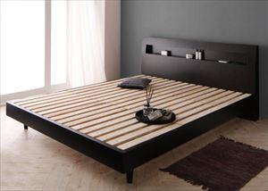 ダブル【フレームのみ】鏡面光沢仕上げ 棚・コンセント付 すのこベッド【Quartz】クォーツ