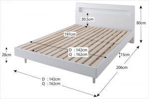クイーン(Q×1)【プレミアムボンネルコイルマットレス付き】鏡面光沢仕上げ 棚・コンセント付 すのこベッド【Quartz】クォーツ