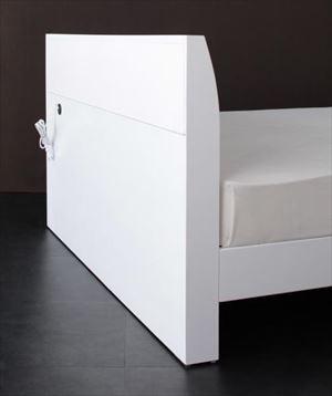 ダブル【国産カバーポケットコイルマットレス付き】鏡面光沢仕上げ 棚・コンセント付 すのこベッド【Quartz】クォーツ