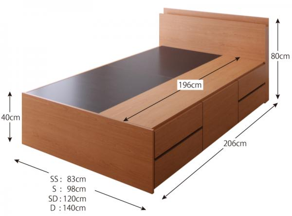 ダブル【ベッドフレームのみ】棚・コンセント付き 大容量チェストベッド 【VoLumen】 ボルメン