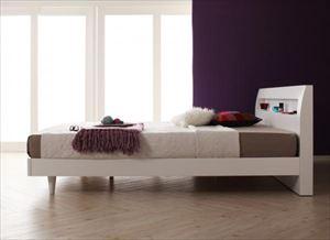 ダブル【マルチラススーパースプリングマットレス付き】鏡面光沢仕上げ 棚・コンセント付 すのこベッド【Quartz】クォーツ