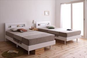 セミダブル【フレームのみ】棚・コンセント付 すのこベッド【Alamode】アラモード