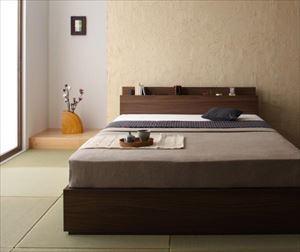 ダブル【プレミアムボンネルコイルマットレス付き】棚・コンセント付き収納ベッド【General】ジェネラル