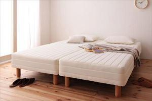 クイーン 脚15cm ポケットコイルマットレス 敷パッドセット 分割式 脚付きマットレスベッド