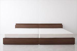 ダブル【プレミアムポケットコイルマットレス付き】棚・コンセント付き収納ベッド【General】ジェネラル