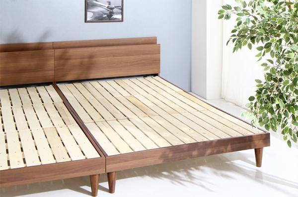 セミダブル【フレームのみ】棚・コンセント付 すのこベッド【Alcester】オルスター