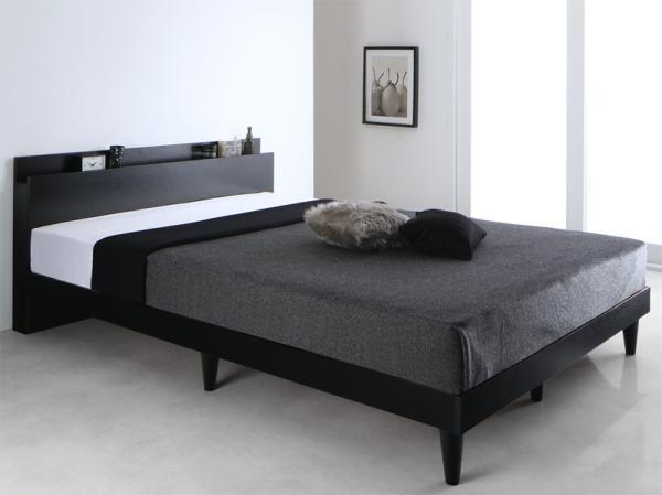 ダブル【フレームのみ】棚・コンセント付 すのこベッド【Alcester】オルスター