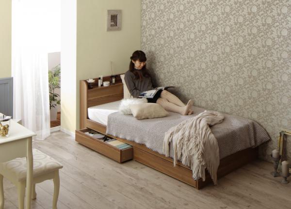 シングル【フレームのみ】ショート丈 棚・コンセント付き収納ベッド【Caterina】カテリーナ