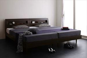 ダブル【スタンダードボンネルコイルマットレス付き】棚・コンセント付 すのこベッド【Alamode】アラモード